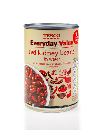 WREXHAM, UK - MARCH 31, 2017: Tesco Everyday Value red kidney beans in a can, on a white background.