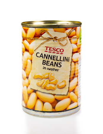 WREXHAM, UK - MARCH 31, 2017: Tin of Tesco cannellini beans in water, on a white background.