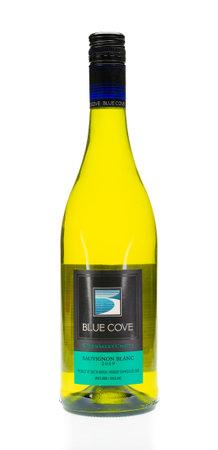 WREXHAM, UK - APRIL 01, 2017: Bottle of Blue Cove sauvignon blanc wine. On a white background.