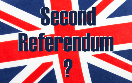 Second Referendum with a question mark written on a British Union jack flag. Photograph with added text. Stock Photo
