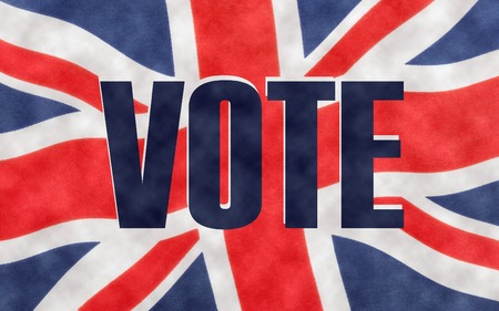 VOTE written on a British Union jack flag. Photograph with added text. Stock Photo