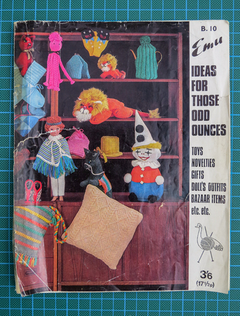 Wrexham, UK - May 31, 2018: Vintage Emu knitting and crochet pattern booklet for making toys and gifts from left over wool, from the 1960s. Cover showing some items that can be made.