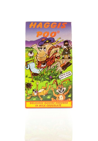 Wrexham, UK - February 02, 2018: Haggis Poo. Witty box of milk chocolate raisins from Scotland made for the tourist market.