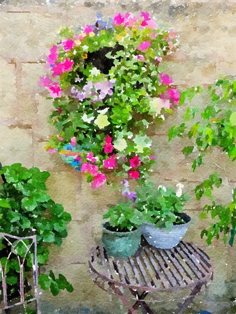Watercolour painting of summer flowers in the corner of an English cottage garden. Stock Photo