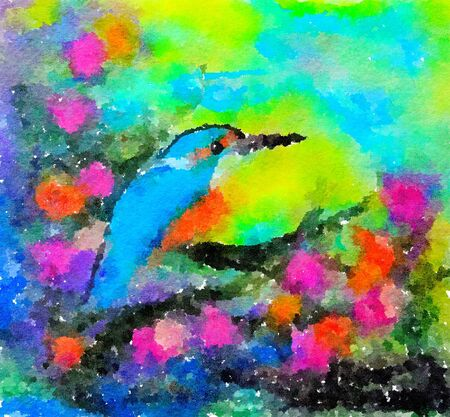 Colourful watercolour painting of a Kingfisher perched on a flowering branch. Strong vibrant colours.