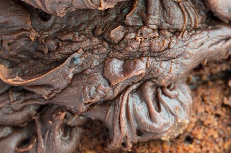 Chocolate frosting on a chocolate cake. Close up of the uneven ripples and folds of the icing. 免版税图像
