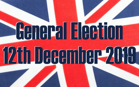 General election 12th December 2019 written on a fabric British Union Jack flag. Photograph with added text. Stock Photo - 133141018