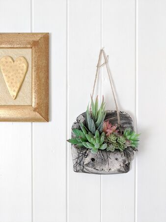 Succulents in a decorative ceramic pot hanging on a white painted wooden wall next to a golden framed heart picture. Modern interior design detail. 免版税图像