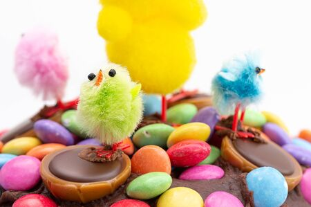 Easter cake on a white background. Close up of fun kids decoration of chocolate frosting covered in colorful chocolate beans and Easter chicks. 免版税图像