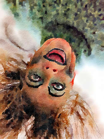Halloween watercolor painting of an upside down scary womans face with creepy makeup and hair. Stock Photo