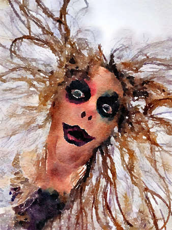 Halloween watercolor painting of a scary womans face with creepy makeup and wild crazy hair. Stock Photo