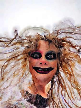 Halloween watercolor painting of a scary woman face with creepy smile, dark makeup and crazy wild hair. Stock Photo