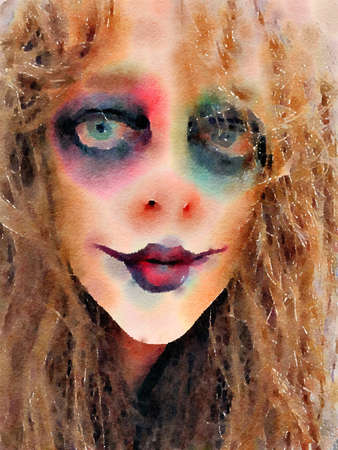 Halloween watercolor painting of a beautiful scary woman face with creepy makeup and hair. Stock Photo