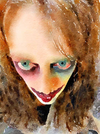 Halloween watercolor painting of a possessed womans face with evil stare.