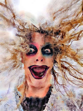 Halloween watercolor painting of a scary womans face with creepy dark makeup and wild crazy hair.