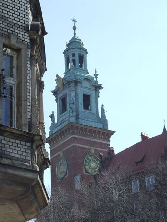 spire: Spire and clock, Wawel Cathedral, Krakow, Poland Stock Photo