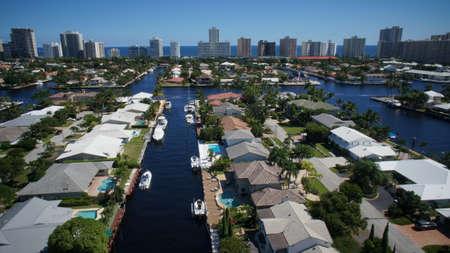 aerial: Aerial Photo Fort Lauderdale Intracoastal Waterway looking east Stock Photo
