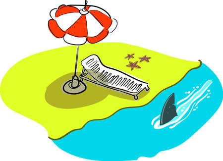 Beach and shark fin patrol cartoon Çizim