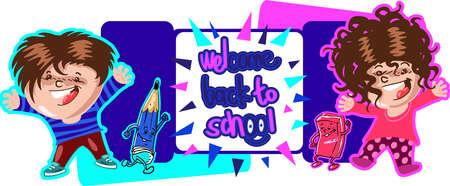 welcome back to school children and supplies cartoon stlye vector illustration Foto de archivo - 104770586