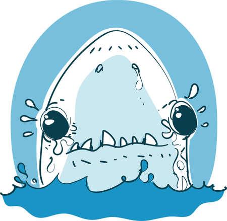 baby white shark funny cartoon