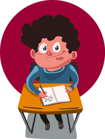 school boy sitting and writing cartoon
