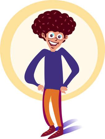 curly hair tall boy smiling cartoon
