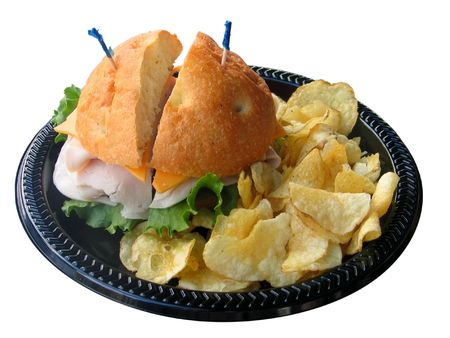 fatten: isolated sandwich and chips