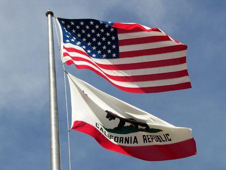 flags of USA and California Фото со стока