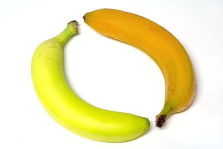 unripened: two bananas, one green, other overripened