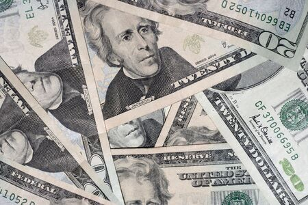 moola: pile of 20 dollar bills Stock Photo
