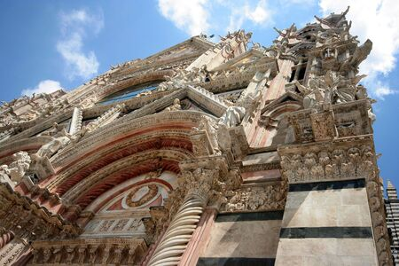 siena italy: facade of the main cathedral in Siena, Italy Stock Photo