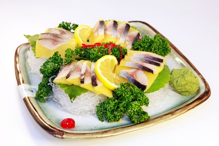japenese: Sliced raw fish on the plate