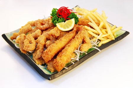 japenese: Seafood fry with french fry Stock Photo