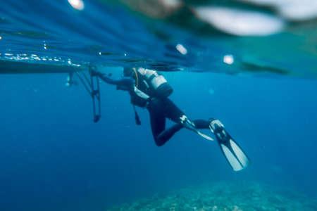 diver leaving