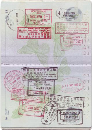passport background: passport with lots of customs stamps Stock Photo