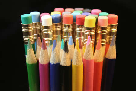 A variety of colored pencils.