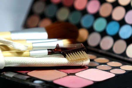 pallette: Makeup brushes and colorful pallette Stock Photo