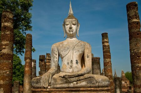 architectural studies: The Buddha status sukothai historical park Stock Photo