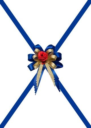 The Blue ribbon isolated on white background photo