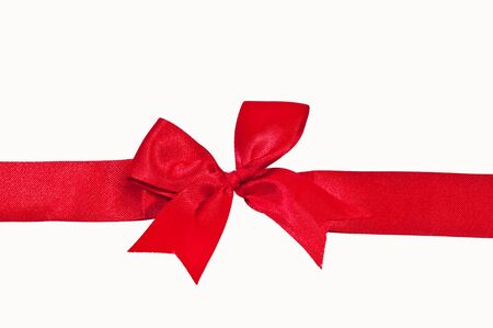 The Red ribbon isolated on white background Stock Photo