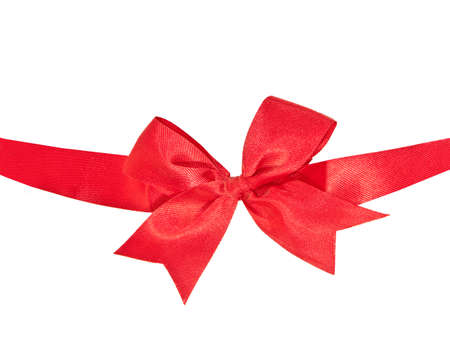 The Red ribbon isolated on white background photo