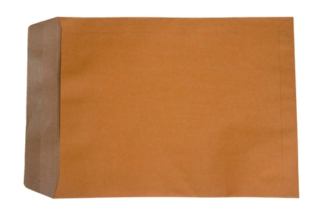 The Old brown envelope isolated on white background Stock Photo - 8587545