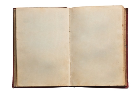 The Old blank book isolated on white background photo