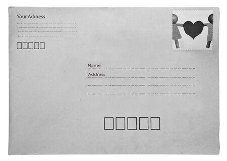 The Gray envelope isolated on white background photo