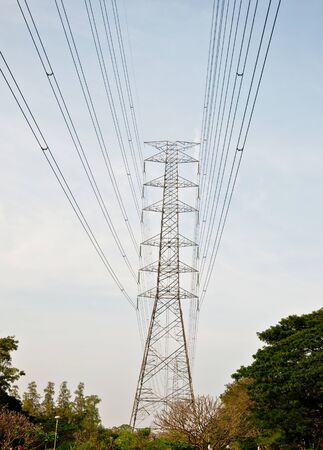 The High voltage towers and cables against blue sky Stock Photo - 8967592