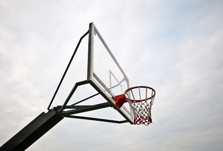The Basket ball hoop on out door court photo