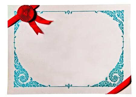 Le blanc de certificat isol� sur fond blanc