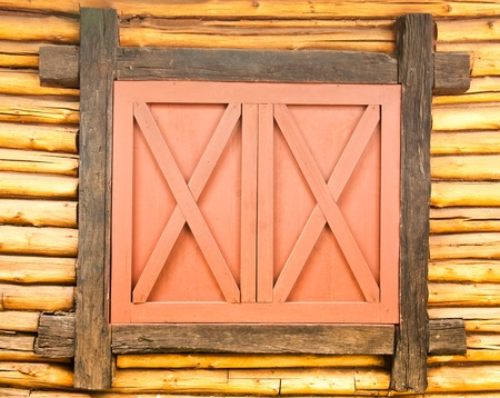 The Old wooden window on wood background photo