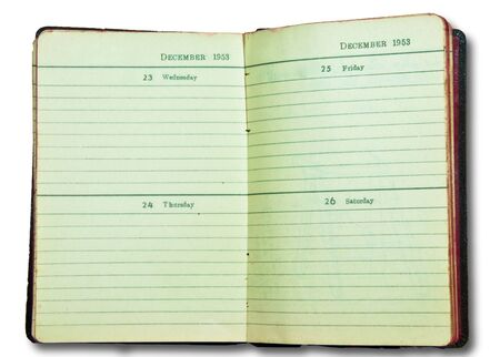 The Vintage of notebook since 1953 isolated on white background photo