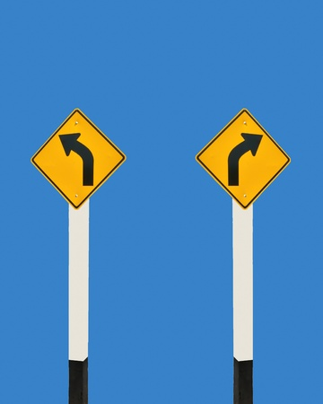 The Sign of arrow turn left and turn right photo
